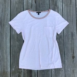 Pink j crew tee shirt with metallic neckline